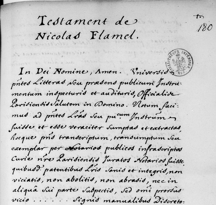 Nicolas Flamel Testament transcription